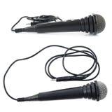 Μικρόφωνο που απομονώνεται μαύρο Στοκ Εικόνες