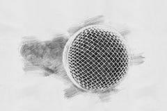 Μικρόφωνο Σκίτσο με το μολύβι Στοκ Εικόνες
