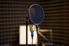Μικρόφωνο στο σκοτεινό φωνητικό δωμάτιο καταγραφής Στοκ εικόνα με δικαίωμα ελεύθερης χρήσης
