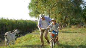 Μικρό αγόρι που μαθαίνει να οδηγά το ποδήλατο με τη βοήθεια από τον πατέρα της στο υπόβαθρο της λίμνης στην επαρχία φιλμ μικρού μήκους