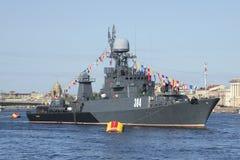 Μικρό ανθυποβρυχιακό σκάφος ` Urengoy ` στην παρέλαση προς τιμή την κινηματογράφηση σε πρώτο πλάνο ημέρας νίκης Πετρούπολη Άγιος Στοκ φωτογραφίες με δικαίωμα ελεύθερης χρήσης