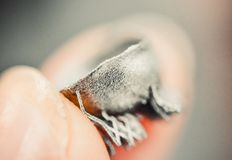 Μικρό αντικείμενο που τυπώνεται στην τρισδιάστατη μακροεντολή εκτυπωτών μετάλλων στοκ εικόνες