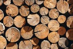 Μικρό κομμάτι των φυσικών ξύλινων κούτσουρων που χρησιμοποιούνται για διακοσμημένο το σχέδιο τοίχο Στοκ εικόνα με δικαίωμα ελεύθερης χρήσης