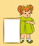 Μικρό κορίτσι κινούμενων σχεδίων με το έμβλημα Στοκ Εικόνες