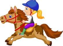 Μικρό κορίτσι κινούμενων σχεδίων που οδηγά ένα άλογο πόνι διανυσματική απεικόνιση