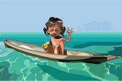 Μικρό κορίτσι κινούμενων σχεδίων που πλέει μόνο σε μια βάρκα Στοκ Φωτογραφίες