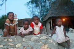 Μικρό κορίτσι μαύρων Αφρικανών τέσσερα που στηρίζεται σε έναν φράκτη πετρών Στοκ Εικόνα