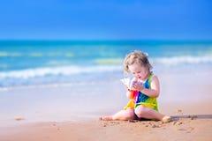 Μικρό κορίτσι με ένα θαλασσινό κοχύλι Στοκ Εικόνες