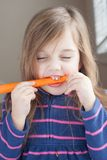 Μικρό κορίτσι με ένα μακρύ καρότο Στοκ εικόνα με δικαίωμα ελεύθερης χρήσης