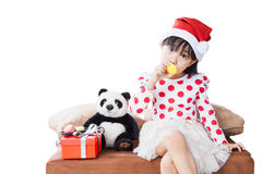 Μικρό κορίτσι με ένα πιάτο των μπισκότων για Santa Στοκ Εικόνες