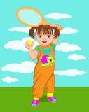 Μικρό κορίτσι με μια ρακέτα αντισφαίρισης Στοκ Εικόνα
