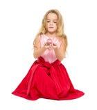 Μικρό κορίτσι με τα μαγικά όνειρα σφαιρών Στοκ Εικόνες