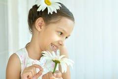 Μικρό κορίτσι με τα λουλούδια dasies Στοκ Εικόνες