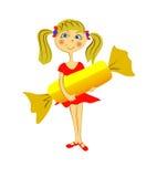 Μικρό κορίτσι με τη μεγάλη καραμέλα ελεύθερη απεικόνιση δικαιώματος