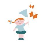 Μικρό κορίτσι με τις πεταλούδες Στοκ Φωτογραφία
