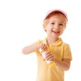 Μικρό κορίτσι με τις φυσαλίδες ανεμιστήρων Στοκ Εικόνες