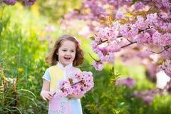 Μικρό κορίτσι με το άνθος κερασιών Στοκ φωτογραφία με δικαίωμα ελεύθερης χρήσης