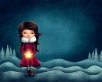 Μικρό κορίτσι με το αστέρι ελεύθερη απεικόνιση δικαιώματος