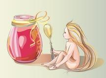 Μικρό κορίτσι με το κουτάλι Απεικόνιση αποθεμάτων