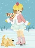 Μικρό κορίτσι με το σκυλί Στοκ Εικόνα
