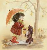 Μικρό κορίτσι με το σκυλί διανυσματική απεικόνιση