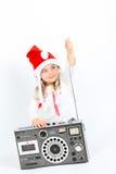 Μικρό κορίτσι με το φορέα μουσικής Στοκ Εικόνες