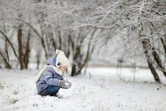 Μικρό κορίτσι που έχει τη διασκέδαση τη χειμερινή ημέρα Στοκ εικόνες με δικαίωμα ελεύθερης χρήσης