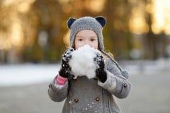 Μικρό κορίτσι που έχει τη διασκέδαση τη χειμερινή ημέρα Στοκ Εικόνες