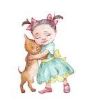Μικρό κορίτσι που αγκαλιάζει τη γάτα Στοκ Εικόνες
