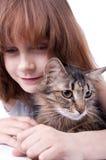 Μικρό κορίτσι που επικοινωνεί με το κατοικίδιο ζώο της Στοκ φωτογραφία με δικαίωμα ελεύθερης χρήσης