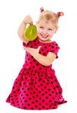 Μικρό κορίτσι που κρατά ένα αχλάδι Στοκ Εικόνες