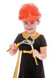 Μικρό κορίτσι που κρατά ένα ζευγάρι των πενσών Στοκ Φωτογραφίες