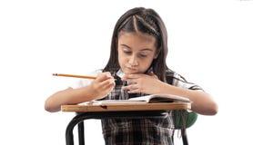 Μικρό κορίτσι που μελετά στο άσπρο υπόβαθρο στοκ φωτογραφία