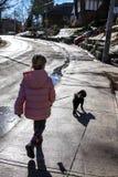 Μικρό κορίτσι που περπατά ένα μικρό σκυλί στοκ εικόνα με δικαίωμα ελεύθερης χρήσης