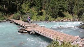 Μικρό κορίτσι που περπατά κατά μήκος μιας ξύλινης γέφυρας πέρα από έναν ποταμό βουνών, ποταμός Kucherla, βουνά Altai, Ρωσία απόθεμα βίντεο