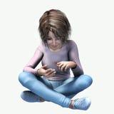 Μικρό κορίτσι που φαίνεται ένα ζωύφιο ελεύθερη απεικόνιση δικαιώματος