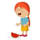 Μικρό κορίτσι που φωνάζει την πεταγμένη φέτα του καρπουζιού Στοκ Φωτογραφίες