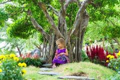 Μικρό κορίτσι σε έναν τροπικό κήπο αειθαλές μικροσκοπικό δέντρο πεύκων μπονσάι Στοκ Εικόνα
