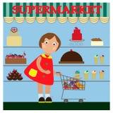 Μικρό κορίτσι στην υπεραγορά Στοκ Εικόνες