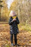 Μικρό κορίτσι στη φθινοπωρινή φύση στοκ φωτογραφίες