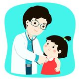Μικρό κορίτσι στον ιατρικό έλεγχο επάνω με τον αρσενικό γιατρό παιδιάτρων ελεύθερη απεικόνιση δικαιώματος