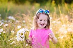 Μικρό κορίτσι στον τομέα λουλουδιών μαργαριτών Στοκ Φωτογραφίες