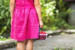 Μικρό κορίτσι στο μικρό καλάθι χεριών παιδιών φορεμάτων holdind των ώριμων ras Στοκ εικόνες με δικαίωμα ελεύθερης χρήσης