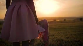 Μικρό κορίτσι στο ρόδινο εορταστικό φόρεμα που κρατά το μεγάλο παιχνίδι λαγουδάκι βελούδου στο ηλιοβασίλεμα Σκιαγραφία ενός παιδι φιλμ μικρού μήκους