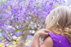 Μικρό κορίτσι στο υπόβαθρο του πορφυρού ξύλου Στοκ φωτογραφία με δικαίωμα ελεύθερης χρήσης