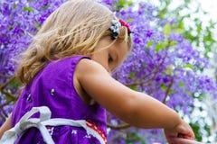 Μικρό κορίτσι στο υπόβαθρο του πορφυρού ξύλου Στοκ Φωτογραφία