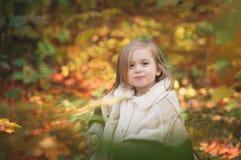 Μικρό κορίτσι στο φθινοπωρινό δάσος στοκ εικόνα