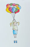 Μικρό κορίτσι ho ding επάνω στα μπαλόνια ελεύθερη απεικόνιση δικαιώματος