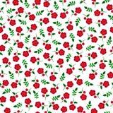 Μικρό κόκκινο άνευ ραφής σχέδιο λουλουδιών Στοκ Εικόνες