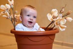 Μικρό παιδί σε έναν πλαστικό κάδο στοκ εικόνες